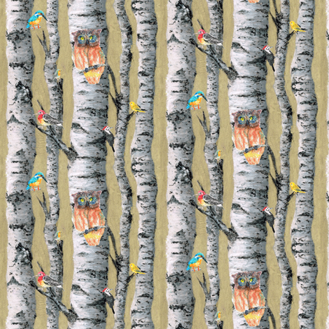birch trees small scale fabric by stargazingseamstress on Spoonflower - custom fabric