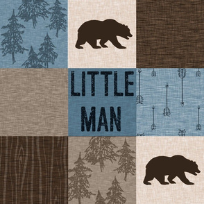 Little Man (bear only) Quilt - Blue, Beige, And brown