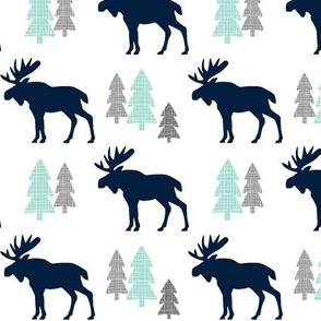 Navy Moose  – Mint Gray Forest Trees Woodland Baby Nursery Bedding GingerLous