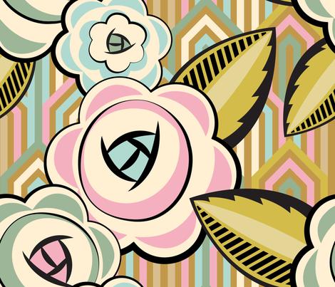 ArtDecoVintageFlowers fabric by cassiopee on Spoonflower - custom fabric