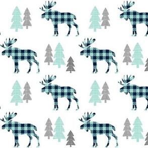Moose  – Navy + Mint Buffalo Plaid Check Forest Trees Woodland Baby Nursery Bedding GingerLous