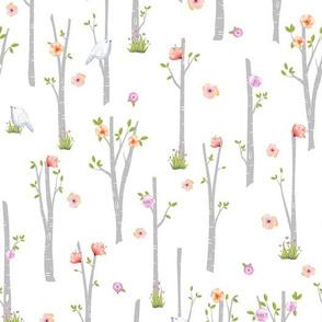 Grey Birch Trees w/ Flowers + Birds