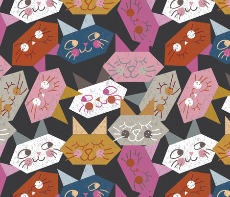 Origami Kitties fabric by owlandchickadee on Spoonflower - custom fabric