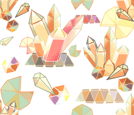 paper prisms origami crystals and gems fabric by beesocks on Spoonflower - custom fabric