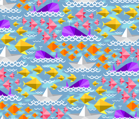 Origami Ocean fabric by jjtrends on Spoonflower - custom fabric