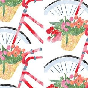 Red Bicycle with Tulips