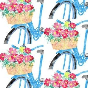 Blue Bike with Cosmos