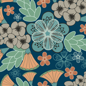 Large Autumn Floral Print in Teal and Orange