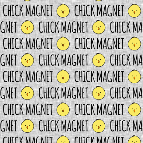Chick magnet - light grey fabric by littlearrowdesign on Spoonflower - custom fabric