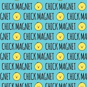 Chick Magnet - blue - easter fabric