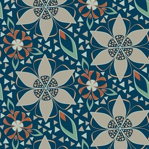Art Deco Style Floral Print, Star Flowers in Orange, Blue, and Green