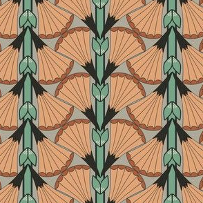 Art Deco Fan Flowers with Orange and Green Stripes