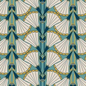 Art Deco Style Trumpet Flower Fans in Teal and Gold Stripes