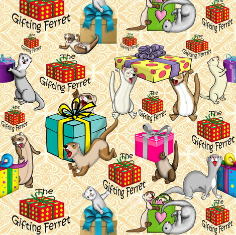 Gifting Ferrets Light fabric by deva_kolb on Spoonflower - custom fabric