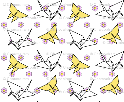 Origami crane and butterfly