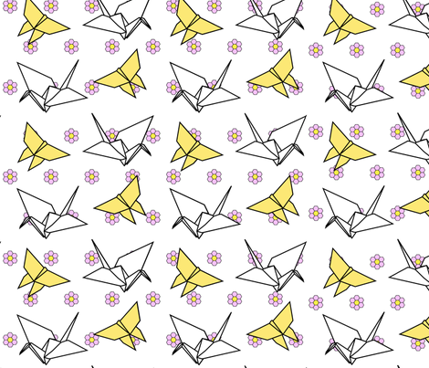 Origami crane and butterfly fabric by charcoalram on Spoonflower - custom fabric
