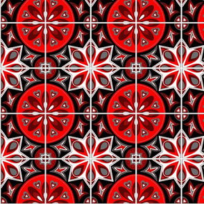 Spanish Tiles in Black, White and Red