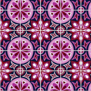 Orchid and Navy Spanish Tiles