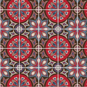 Spanish Tiles in Blue, Brown and Red