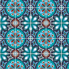 Spanish Tiles in Blue and Teal