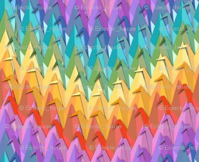 Paper Crane Rainbow Chevron