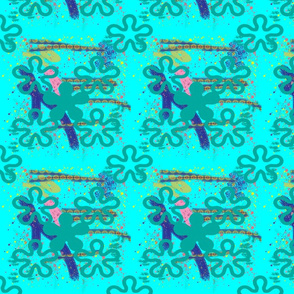 Aqua crazy color splatter