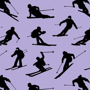 Skiers on Lavender // Small