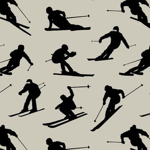 Skiers on Light Taupe // Large