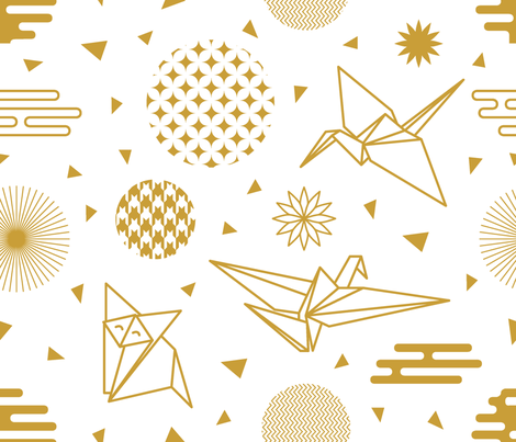 Golden Origami 1 fabric by svetlana_kononova on Spoonflower - custom fabric