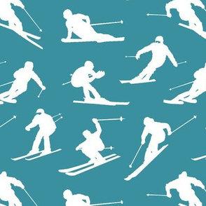 Skiers on Teal // Small