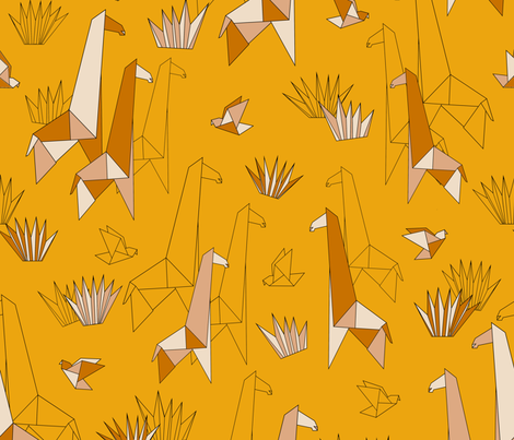 origami giraffe fabric by melaniegowprint on Spoonflower - custom fabric