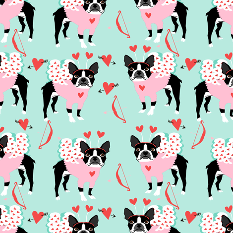 boston terrier love bug valentines day dog breed fabric mint fabric by petfriendly on Spoonflower - custom fabric
