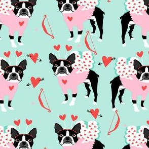 boston terrier love bug valentines day dog breed fabric mint