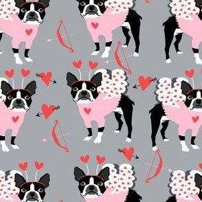boston terrier love bug valentines day dog breed fabric grey