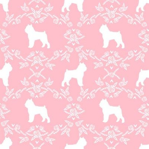 Brussels Griffon floral silhouette dog breed fabric pink