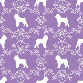 Brussels Griffon floral silhouette dog breed fabric purple