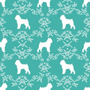 Brussels Griffon floral silhouette dog breed fabric turquoise