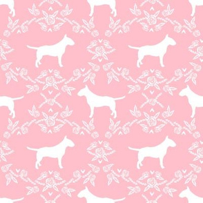 bull terrier floral silhouette dog breed fabric pink