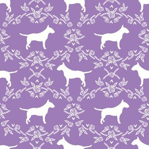 bull terrier floral silhouette dog breed fabric purple