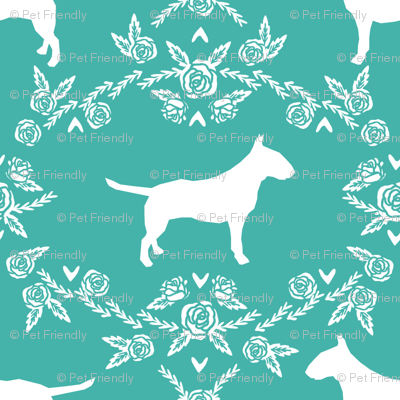 bull terrier floral silhouette dog breed fabric turquoise