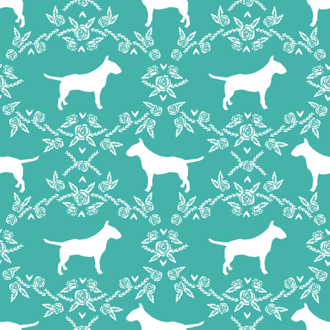 bull terrier floral silhouette dog breed fabric turquoise fabric by petfriendly on Spoonflower - custom fabric