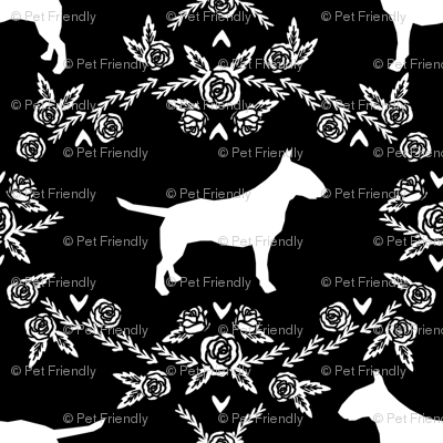 bull terrier floral silhouette dog breed fabric black and white