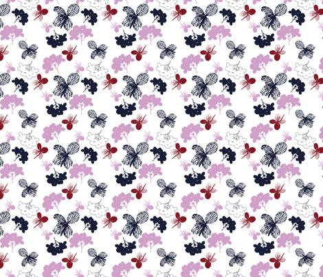 Orchid and Navy Hydrangea fabric by freudenwerkstatt on Spoonflower - custom fabric