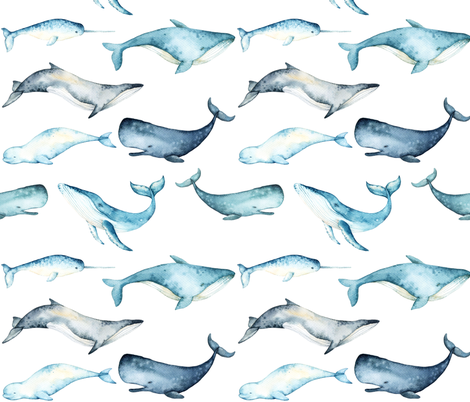 Watercolor Whales // White fabric by hipkiddesigns on Spoonflower - custom fabric