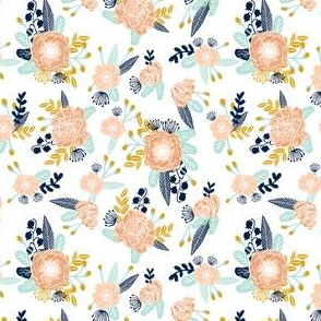 florals peach navy blue mint gold flowers painted floral painted flowers fabric nursery floral fabric (smaller)