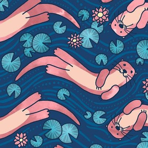 Otter and Water Lily Blue and Pink