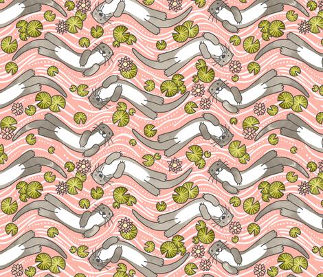 Swimming Otter Girls fabric by marketa_stengl on Spoonflower - custom fabric