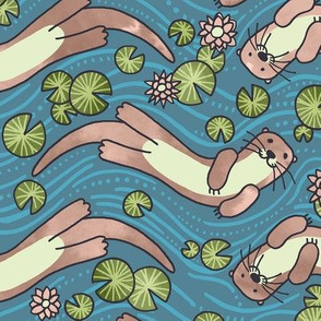 Swimming Otters Pastel Tones
