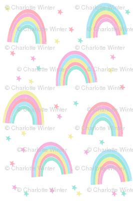 pastel rainbow fabric - cute girls baby nursery baby design - white