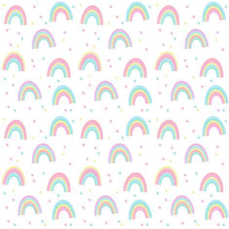 pastel rainbow fabric - cute girls baby nursery baby design - white fabric by charlottewinter on Spoonflower - custom fabric